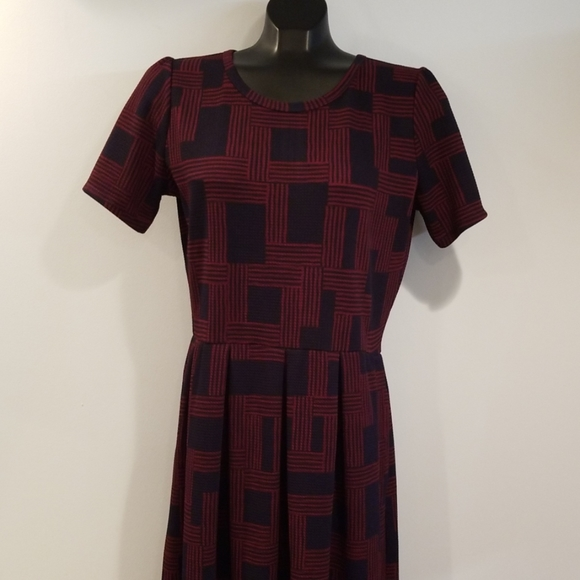 LuLaRoe Dresses & Skirts - Lularoe Amelia Dress Back Zip Navy Blue Large Long